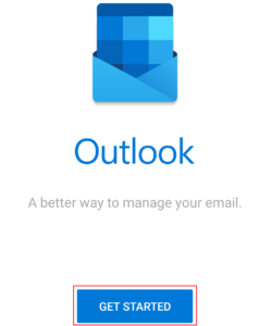 get started option in Outlook app