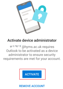 activate option in Outlook app