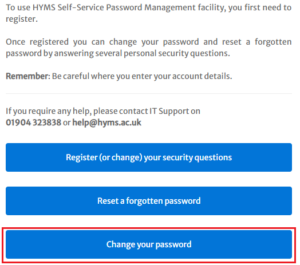 change password option on password reset form