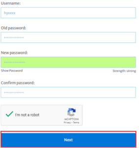 change password fields