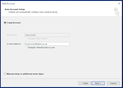 Outlook add account set up page