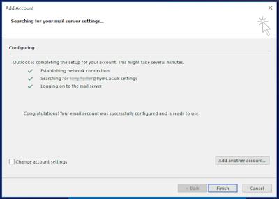 Outlook finish set up option