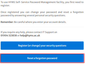 reset forgotten password option