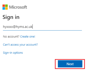 Microsoft sign in page