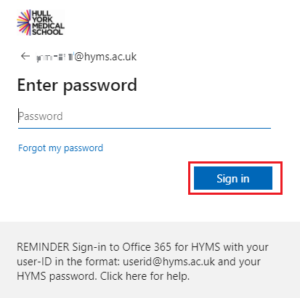 HYMS sign in page