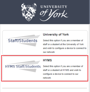 HYMS Staff/Students option for York Onboard