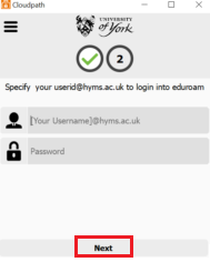 Eduroam login page
