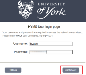 HYMS login page on Onboard
