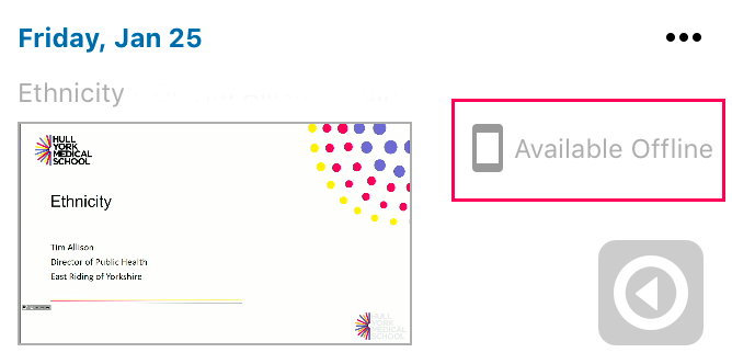 Screenshot of Echo360 App.