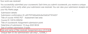 Blackboard submission receipt