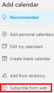 Outlook calendar subscribe from the web option