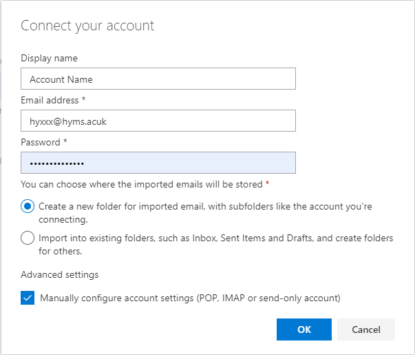 Moving your HYMS email over to Outlook com using POP3