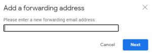 add forwarding email address