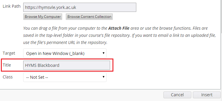 screenshot of Blackboard fields to fill in for a hyperlink