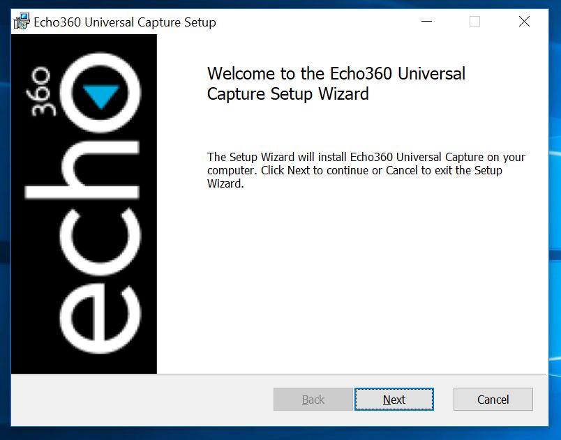 Echo360 installation wizard