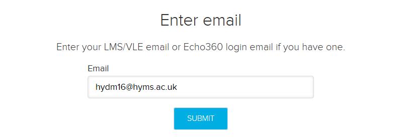 Screenshot of Echo360 login