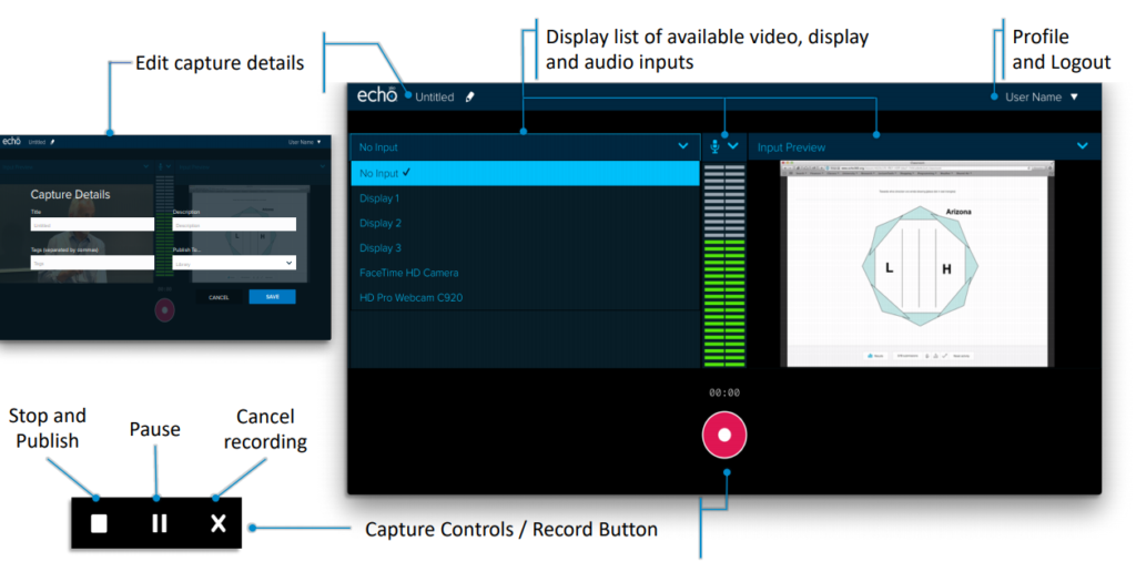 Screenshot of Universal Capture interface