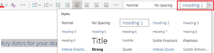screenshot of the Microsoft Word drop down list for heading styles