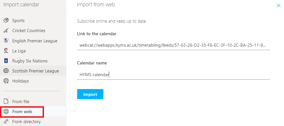screenshot of the import from web link in Office 365