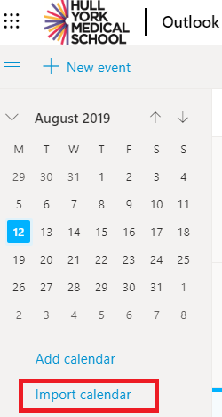 screenshot of the import calendar link in Office 365