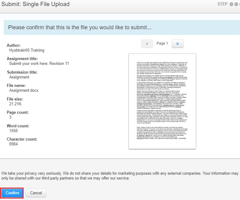 screenshot of Turnitin upload page