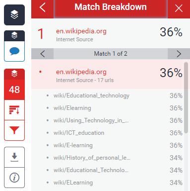 screenshot of match breakdown in Turnitin report