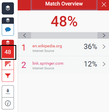 screenshot of percentage match overview in Turnitin