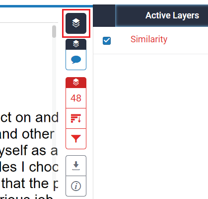 screenshot of layers icon in Turnitin report