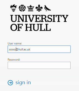 screenshot of Hull email log in page