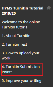 screenshot of Turnitin submission points link in Turnitin Tutorial