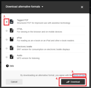 screenshot of the steps to select a format, read terms of use and download