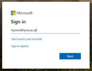 screenshot of log in field on Office365