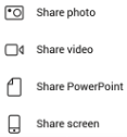 screenshot of share options in Microsoft Teams phone app