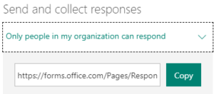 screenshot of Microsoft Form settings option