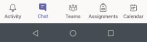 screenshot of Microsoft Team menu bar on mobile app