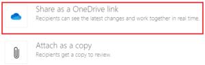 screenshot of share as a OneDrive link via email