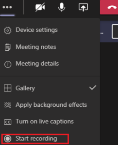 screenshot of start recording option in Microsoft Teams