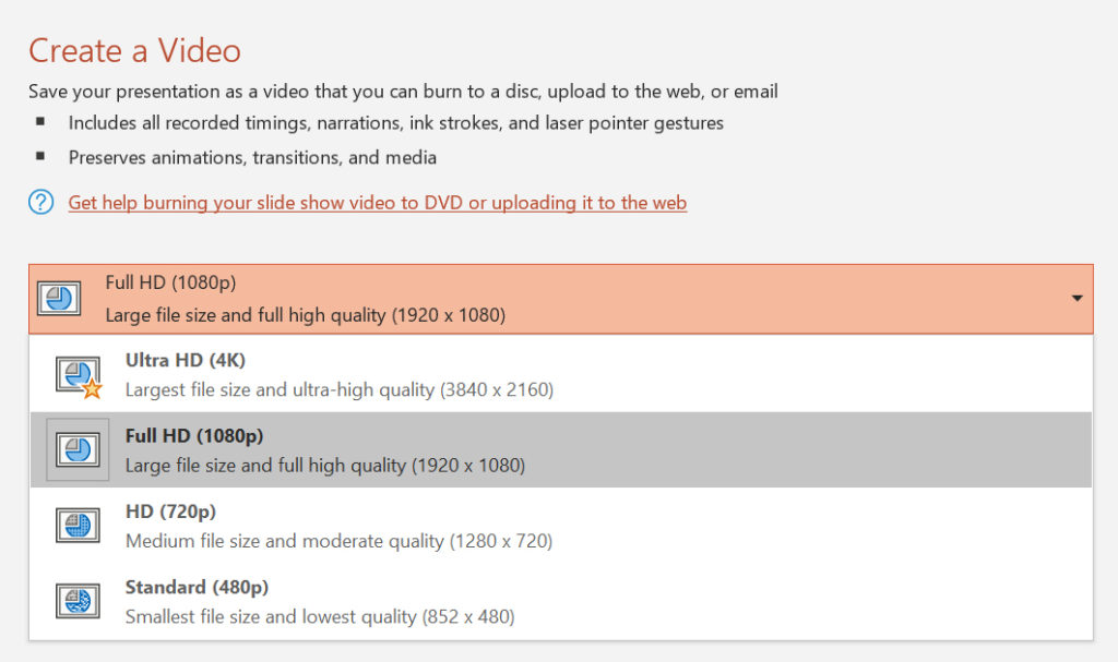 PowerPoint create a video Full HD option
