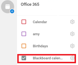 listed Blackboard calendar in Outlook calendar app