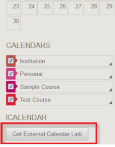 Blackboard external calendar link button