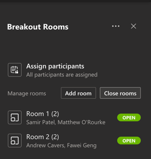 Start a breakout session in Team