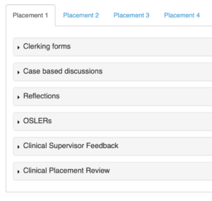 Screenshot of a students portfolio within OpenCampus
