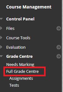 Blackboard full grade centre link