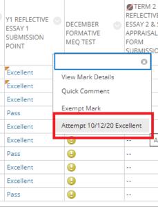 Grade centre assessment column