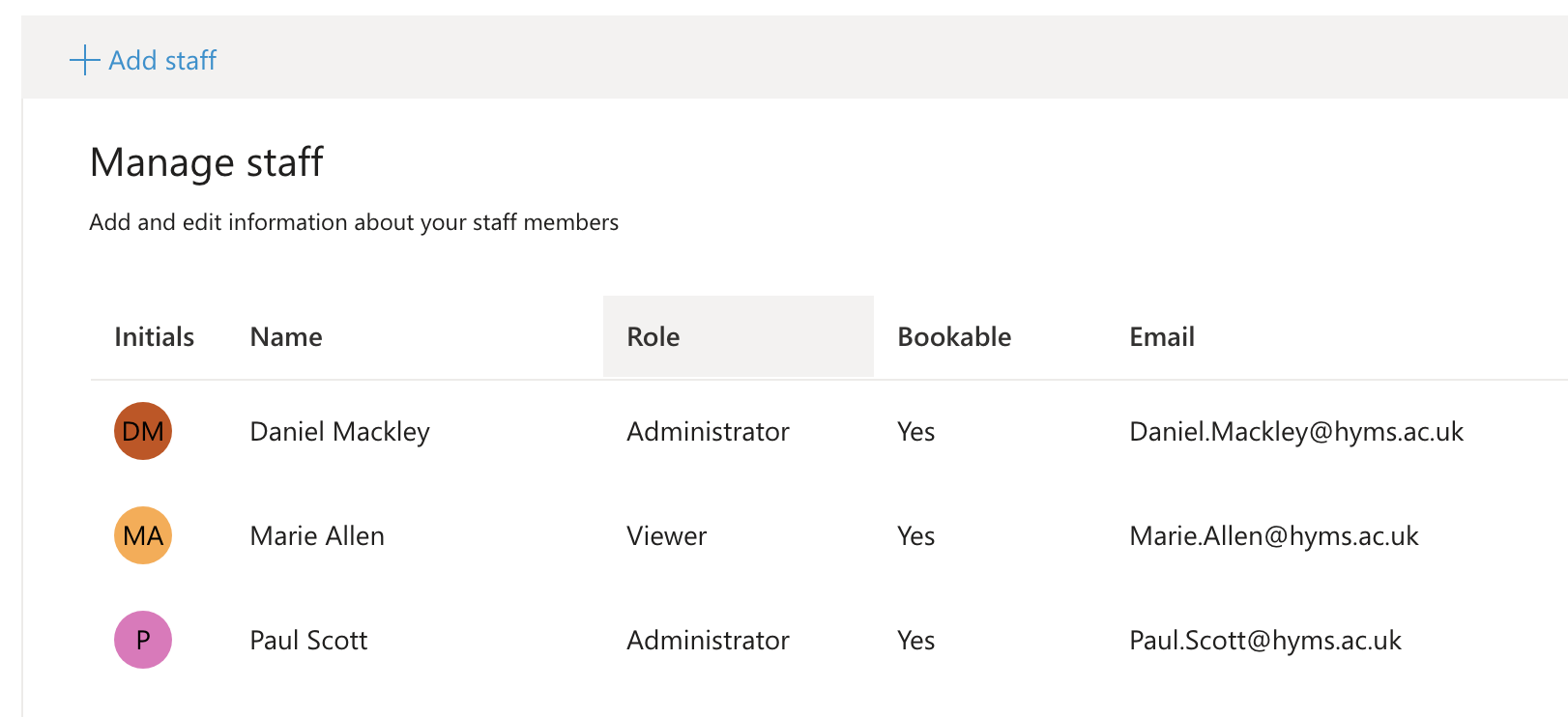 Screenshot of MS Booking calendar