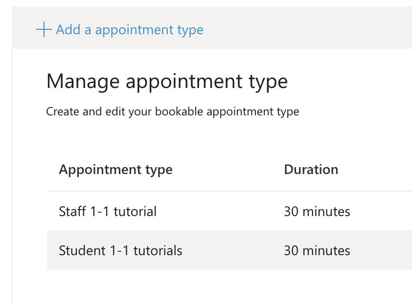 Screenshot MS Booking calendar