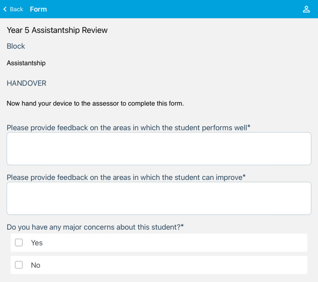 Screenshot of the Assistantship review form on the OpenCampus app