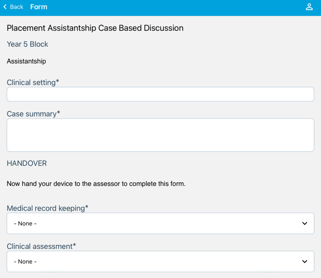 Screenshot of the Case Based Discussion form on the OpenCampus app