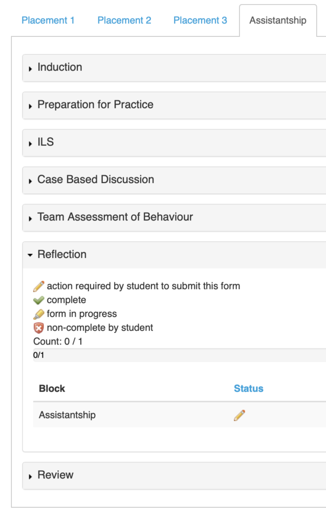 Screenshot of the Portfolio page within OpenCampus